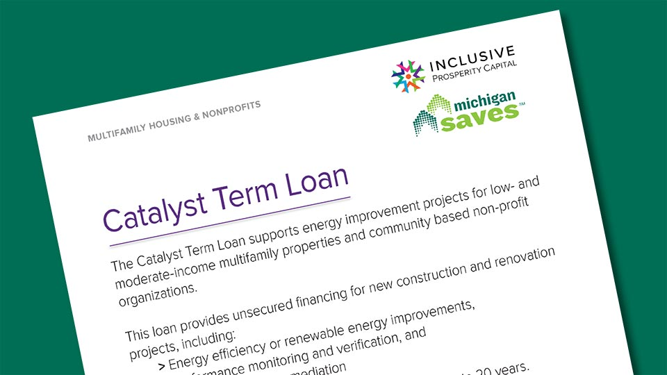 Page mock-up of Inclusive Prosperity Capital's Catalyst Term Loan document