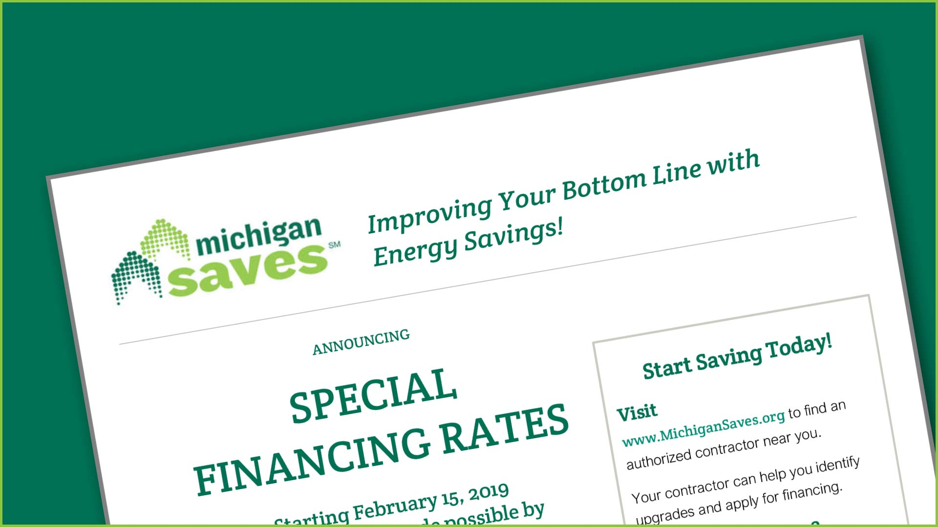 SEMCO Energy special financing rates